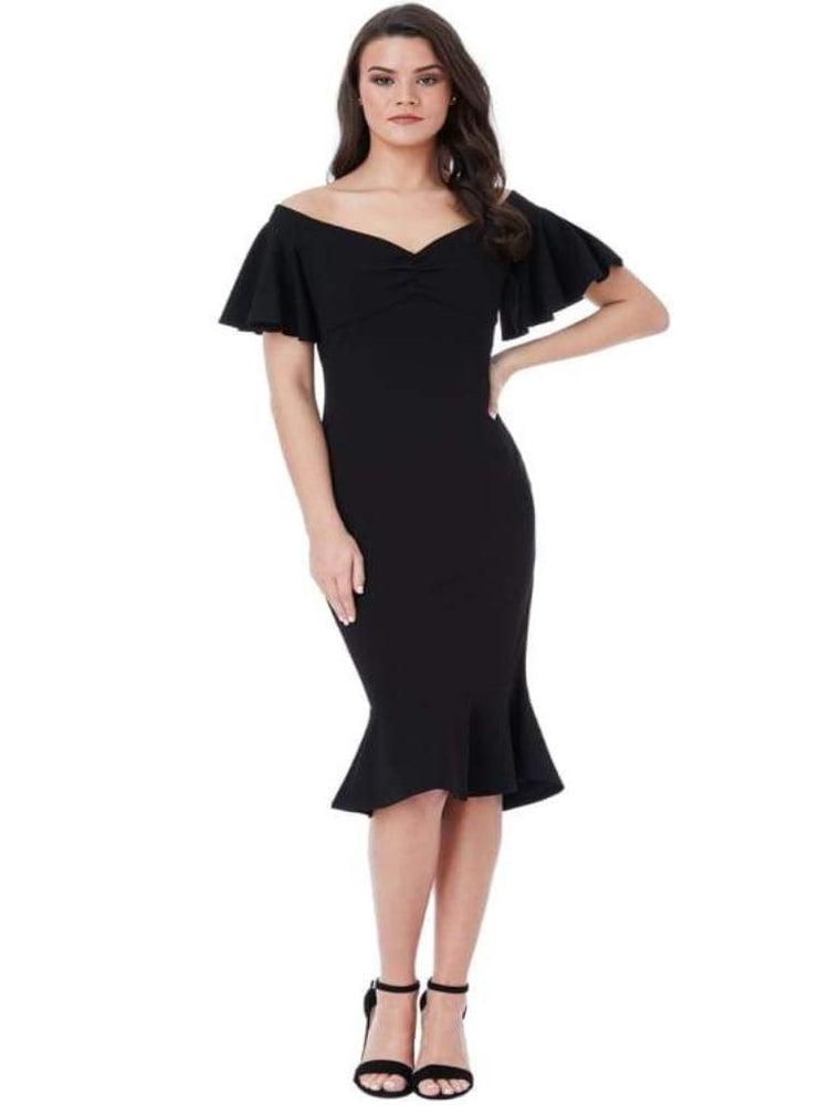 CHAKRA OFF THE SHOULDER MIDI DRESS WITH RUFFLE SLEEVES BLACK - Fashion Trendz