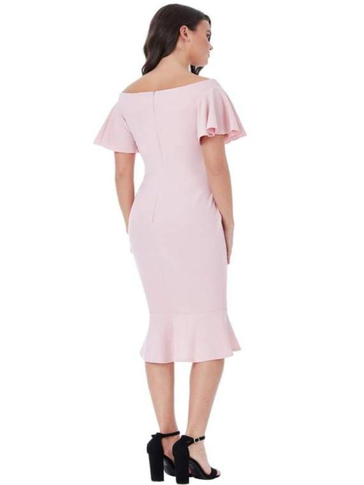 CHAKRA OFF THE SHOULDER MIDI DRESS WITH RUFFLE SLEEVES BLUSH - Fashion Trendz