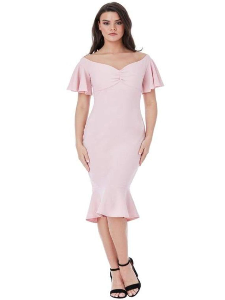 CHAKRA OFF THE SHOULDER MIDI DRESS WITH RUFFLE SLEEVES BLUSH