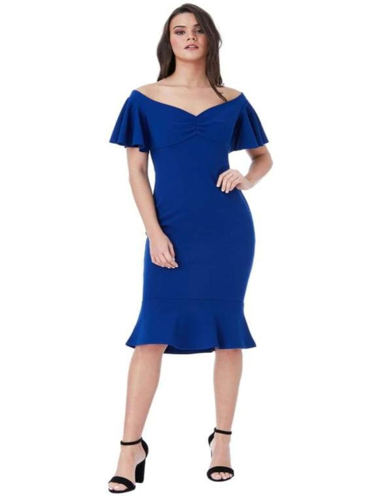 CHAKRA OFF THE SHOULDER MIDI DRESS WITH RUFFLE SLEEVES ROYAL BLUE