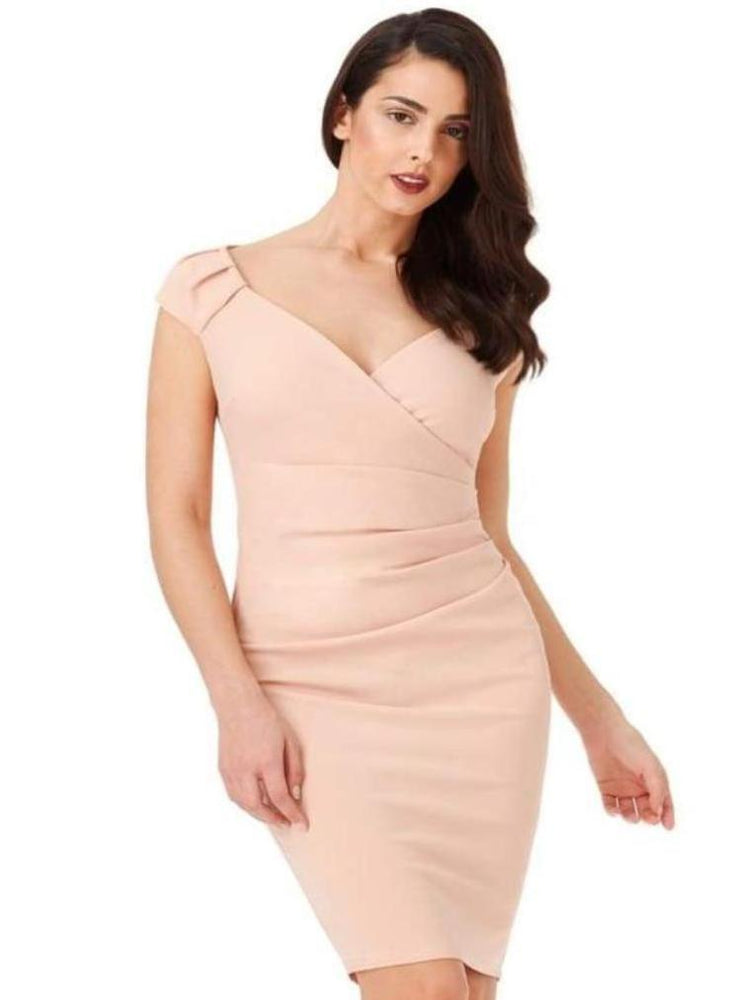 CHIYO V-NECK PLEATED MIDI DRESS BLUSH