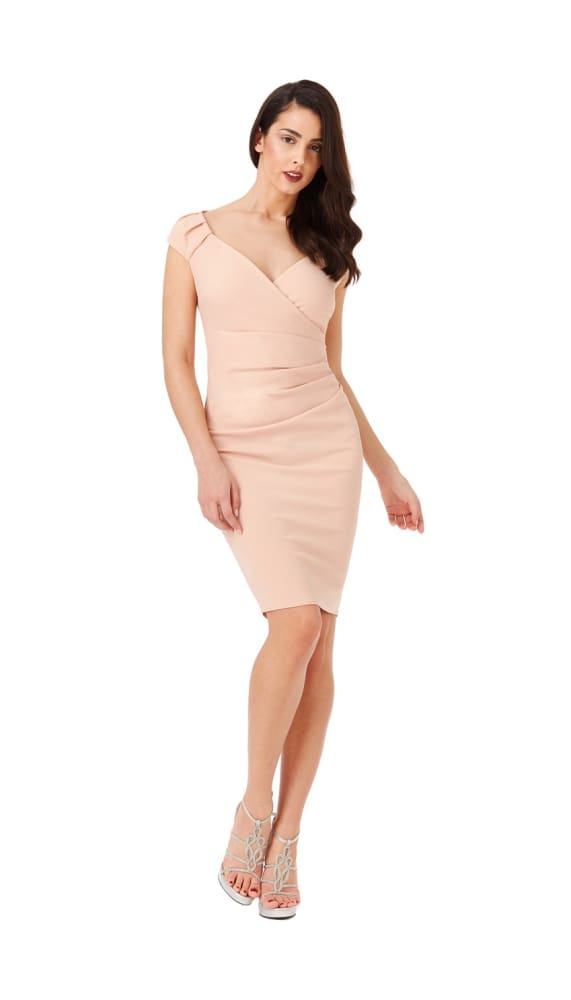 CHIYO V-NECK PLEATED MIDI DRESS BLUSH - Fashion Trendz