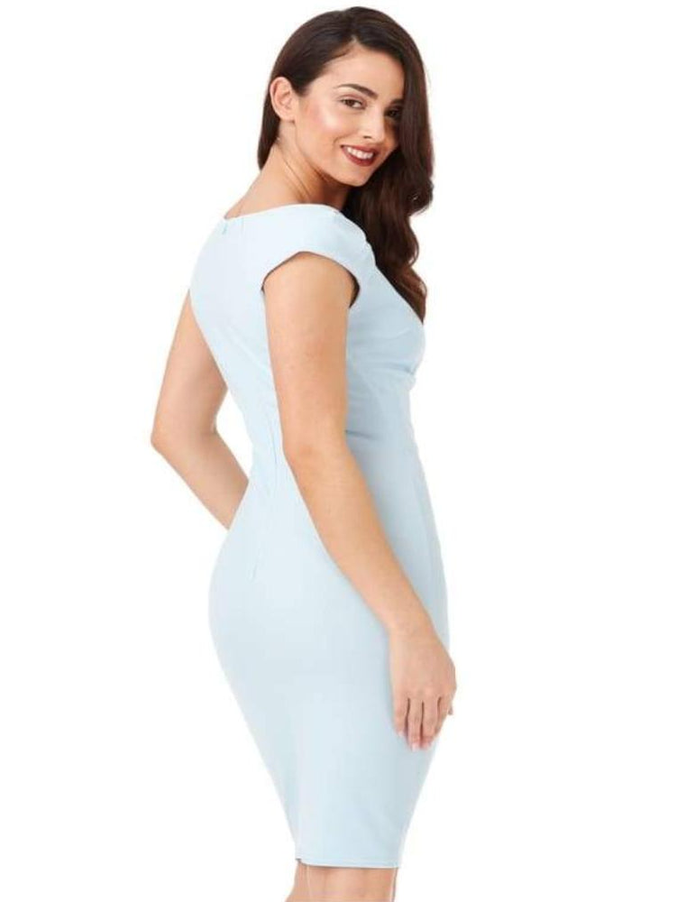 CHIYO V-NECK PLEATED MIDI DRESS POWDER BLUE - Fashion Trendz