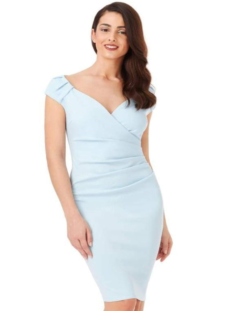 CHIYO V-NECK PLEATED MIDI DRESS POWDER BLUE