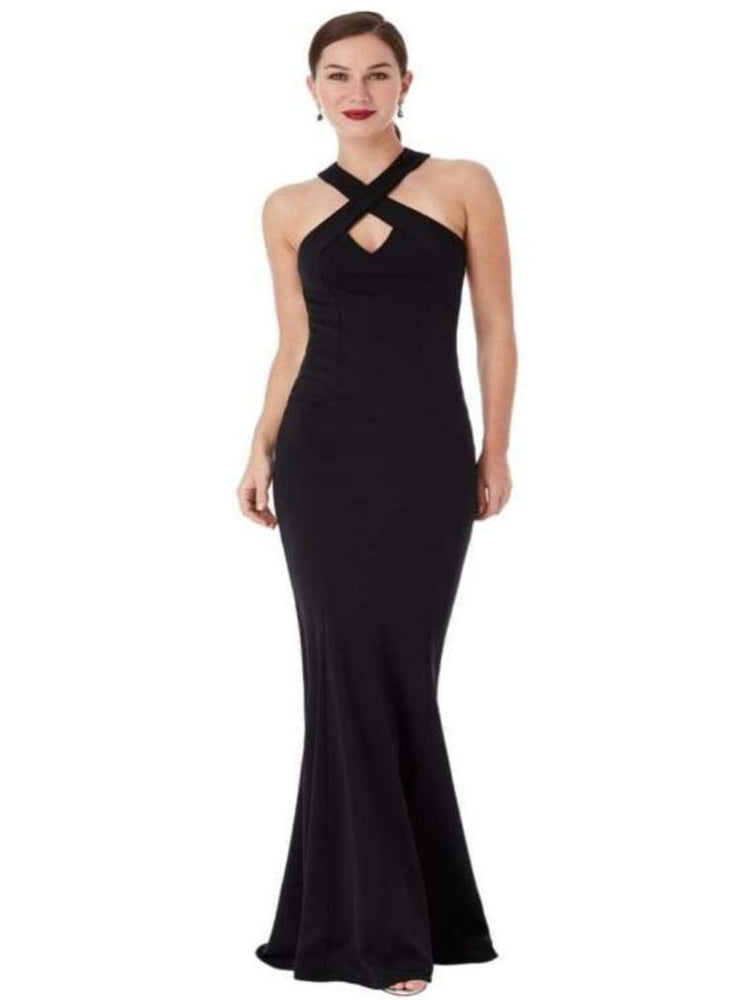 CLARISSA CRISS CROSS OPEN BACK MAXI DRESS BLACK