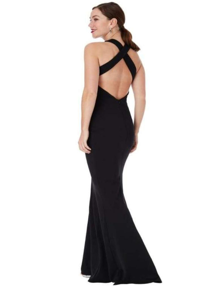 CLARISSA CRISS CROSS OPEN BACK MAXI DRESS BLACK - Fashion Trendz