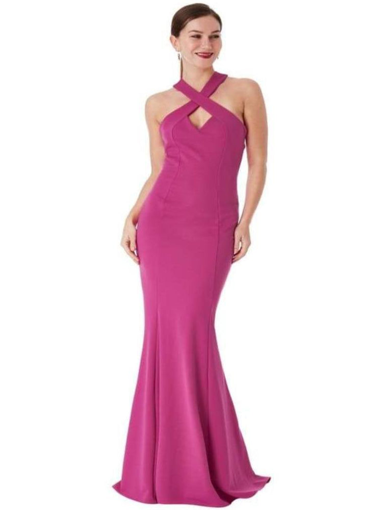 CLARISSA CRISS CROSS OPEN BACK MAXI DRESS FUSHIA - Fashion Trendz