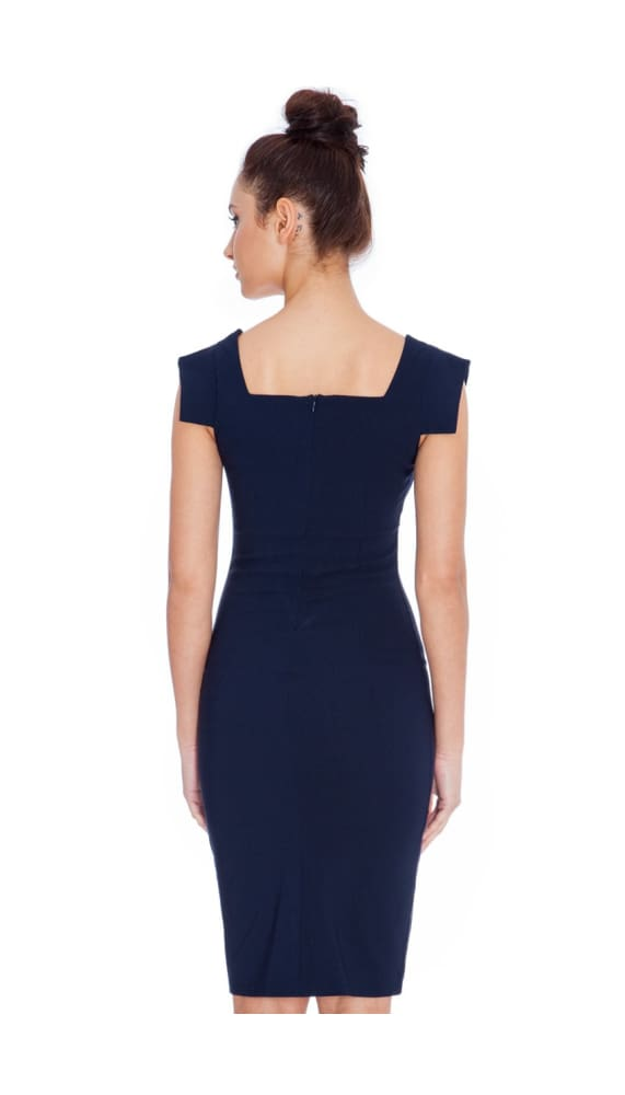 COLLEEN CHIC MAD MEN STYLE DRESS NAVY - Fashion Trendz