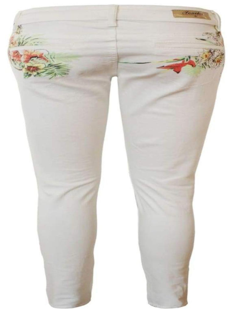 CREAM FLORAL PRINT SUPER SOFT SKINNY JEANS - Fashion Trendz