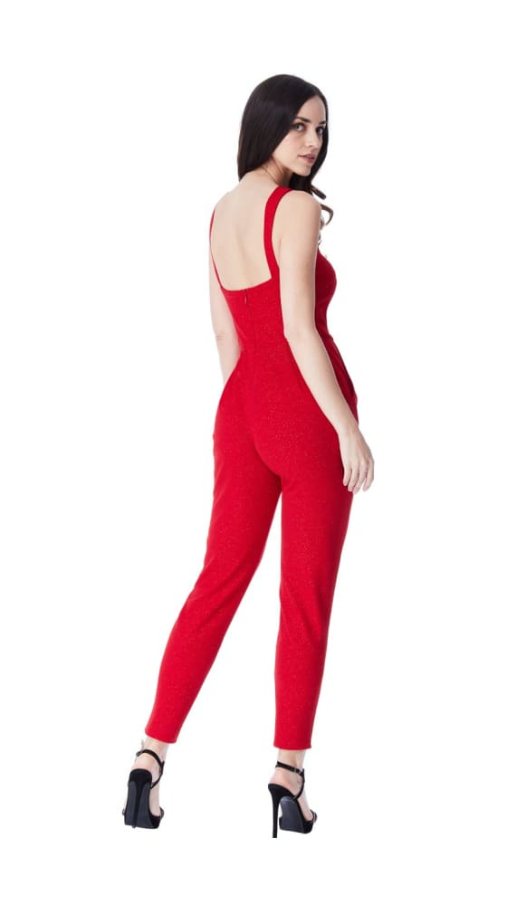 CROSS OVER GLITTER JUMPSUIT RED - Fashion Trendz