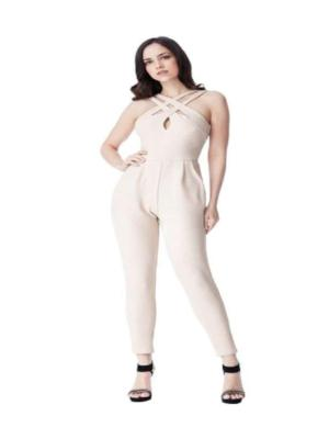 CROSS OVER GLITTER JUMPSUIT STONE