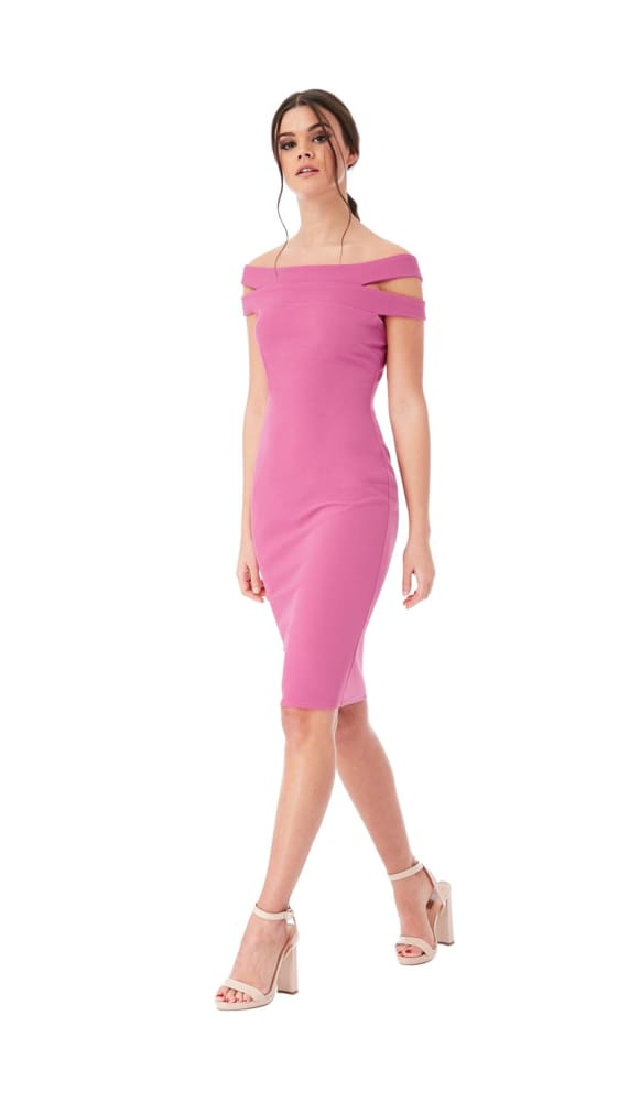 CYBELE DOUBLE BARDOT MIDI DRESS DUSTY PINK - Fashion Trendz