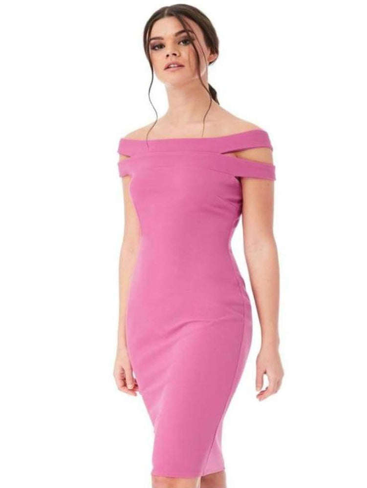 CYBELE DOUBLE BARDOT MIDI DRESS DUSTY PINK