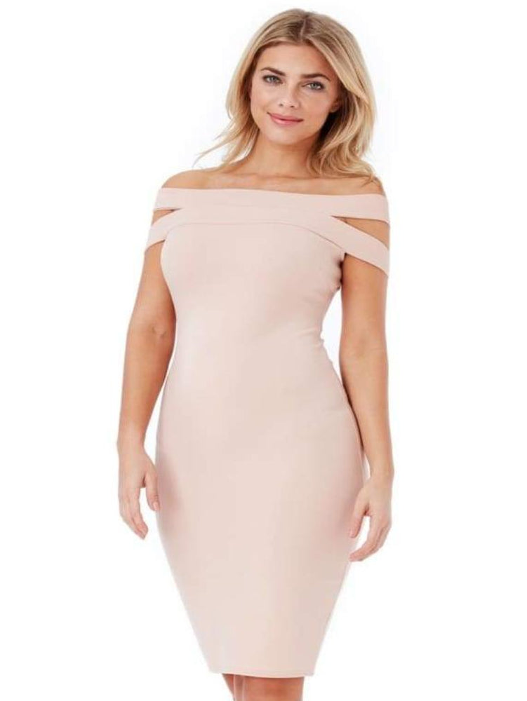 CYBELE DOUBLE BARDOT MIDI DRESS NUDE