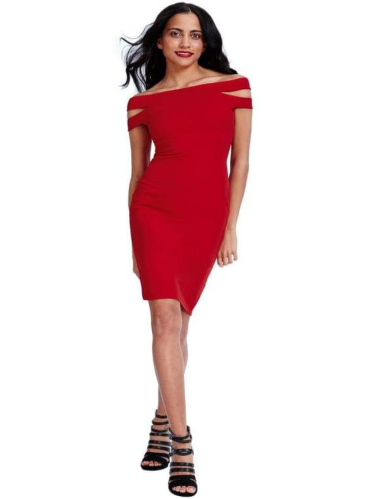 CYBELE DOUBLE BARDOT MIDI DRESS RED - Fashion Trendz