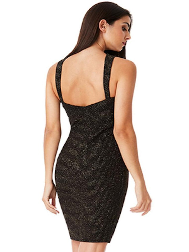 DANIA CROSS OVER GLITTER MIDI DRESS - Fashion Trendz