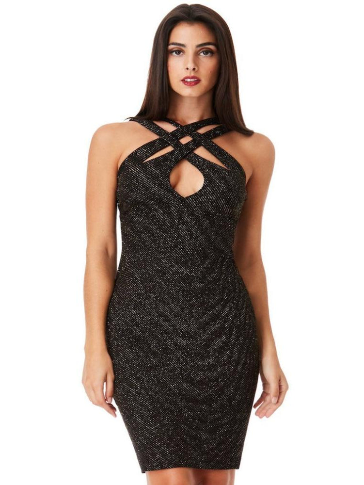 DANIA CROSS OVER GLITTER MIDI DRESS