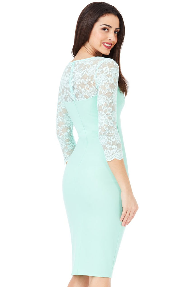 DEIA FITTED MIDI DRESS WITH SCALLOPED LACE NECKLINE MINT - Fashion Trendz