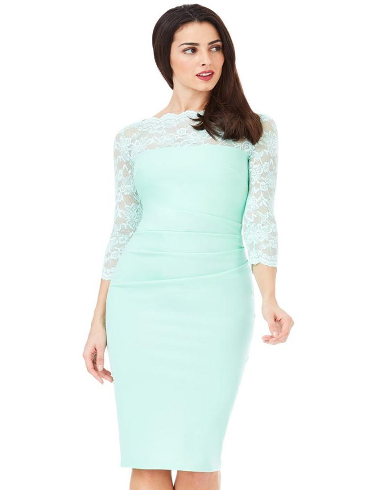 DEIA FITTED MIDI DRESS WITH SCALLOPED LACE NECKLINE MINT