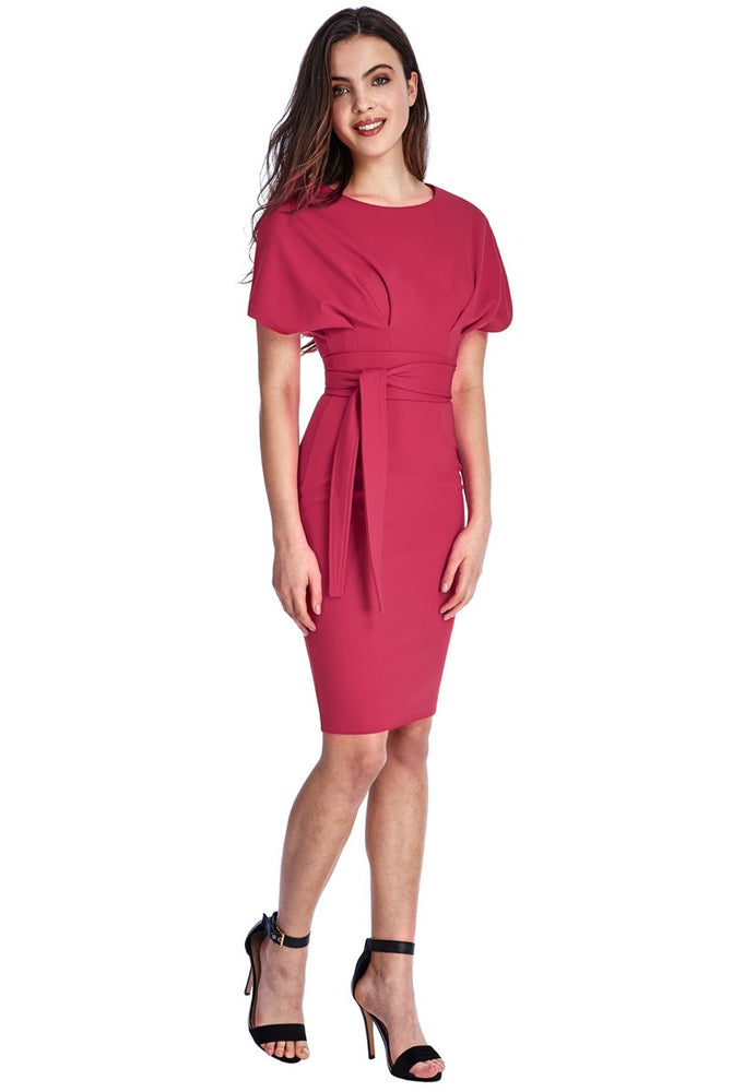 DELLEN KIMONO SLEEVE MIDI DRESS WITH A TIE - Fashion Trendz