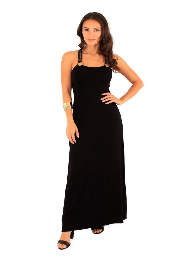 DERYA BUCKLE TRIM BACK MAXI DRESS BLACK - Fashion Trendz