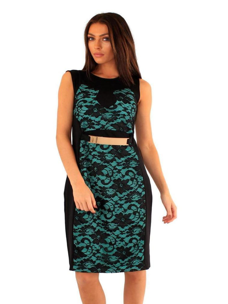 DINAH LACE GOLD PLATE DRESS BLACK/JADE