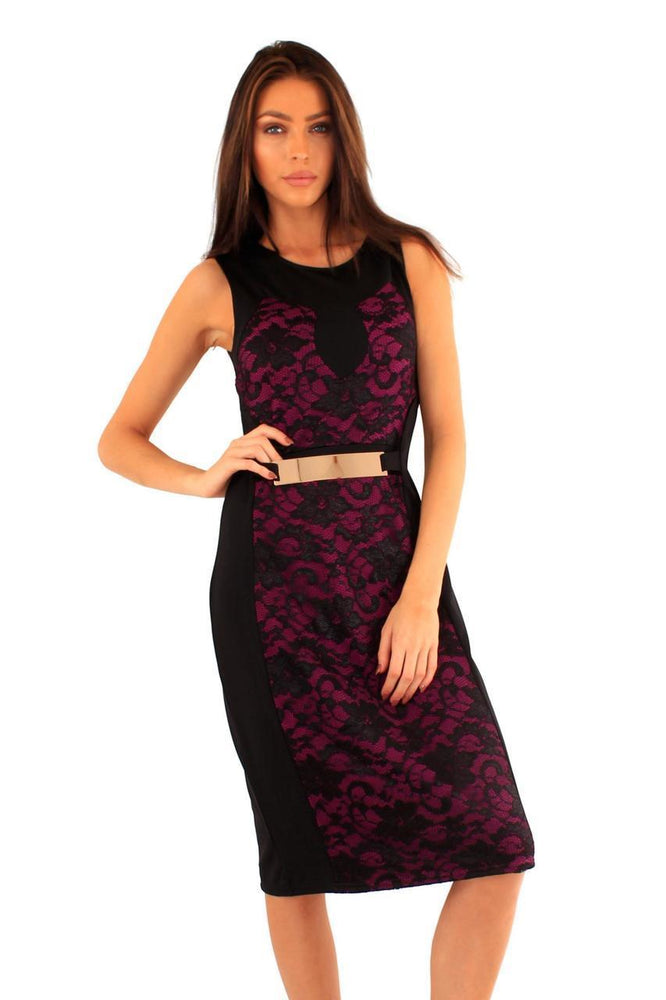 DINAH LACE GOLD PLATE DRESS BLACK/MAGENTA - Fashion Trendz