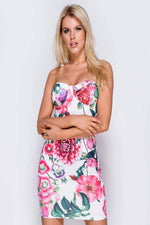 EBONY FLORAL PRINT SLEEVELESS BODYCON DRESS - Fashion Trendz