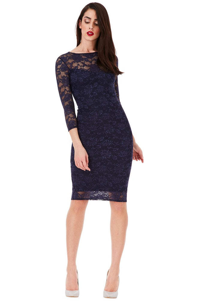 EDEN ALL OVER LACE MIDI PENCIL DRESS WITH 3/4 SLEEVES - Fashion Trendz