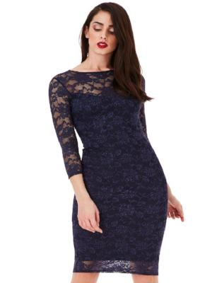 EDEN ALL OVER LACE MIDI PENCIL DRESS WITH 3/4 SLEEVES