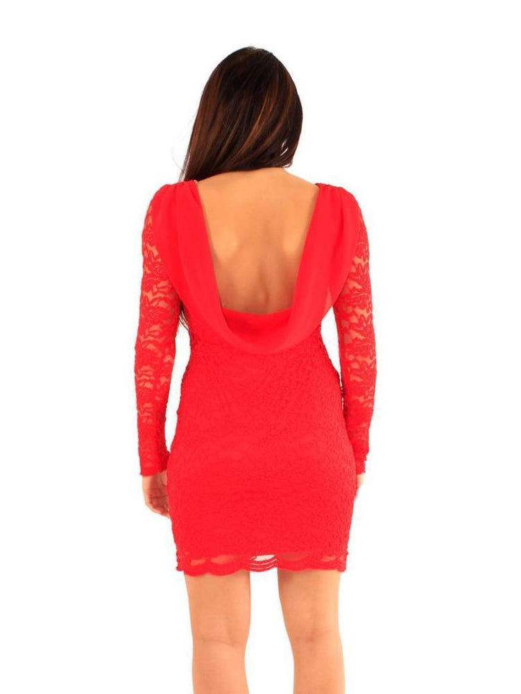 EDINA COWL BACK LACE DRESS RED - Fashion Trendz