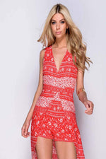 EILA BORDER PRINT TIE BACK MAXI DRESS - Fashion Trendz