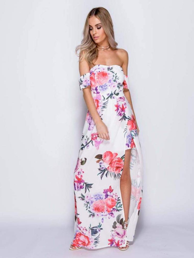 EILA FLORAL PRINT BARDOT MAXI DRESS WITH SHORTS IN WHITE