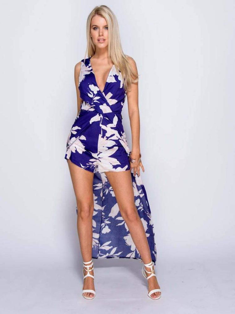 EILA FLORAL TIE BACK MAXI DRESS WITH SHORTS
