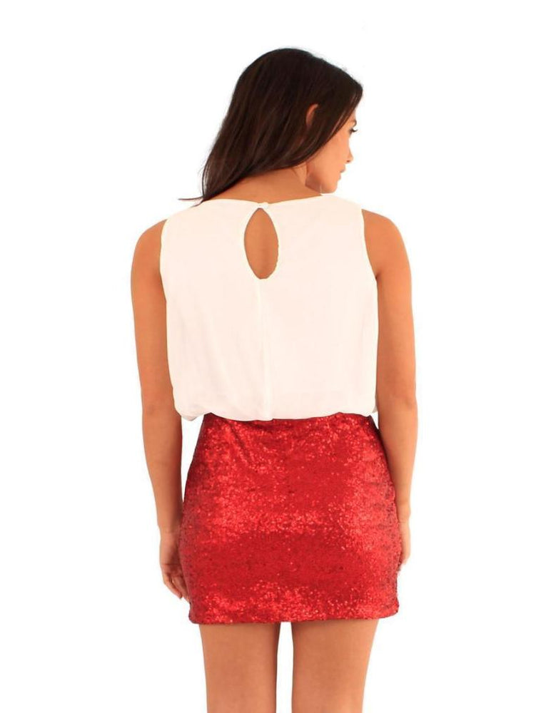 ELECTRA SEQUIN CHIFFON PARTY DRESS RED - Fashion Trendz