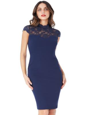 ELIANA OPEN BACK HIGH NECK MIDI DRESS WITH LACE DETAIL