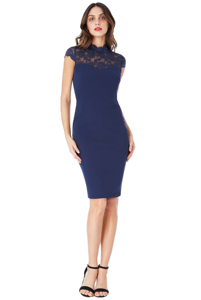 ELIANA OPEN BACK HIGH NECK MIDI DRESS WITH LACE DETAIL - Fashion Trendz