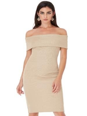 ELISE OFF THE SHOULDER BANDEAU MIDI DRESS