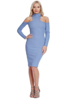 ELIZA HIGH NECK COLD SHOULDER MIDI DRESS - Fashion Trendz