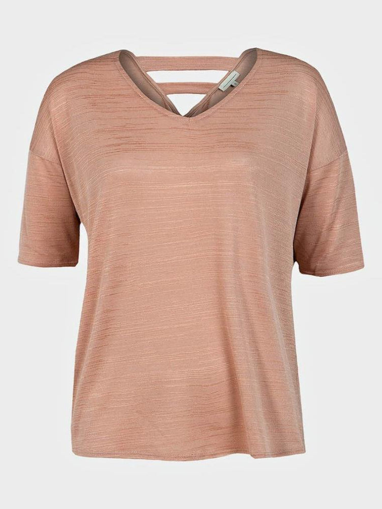 EX HIGH STREET LADIES SEMI SHEER TOP DUSTY PINK