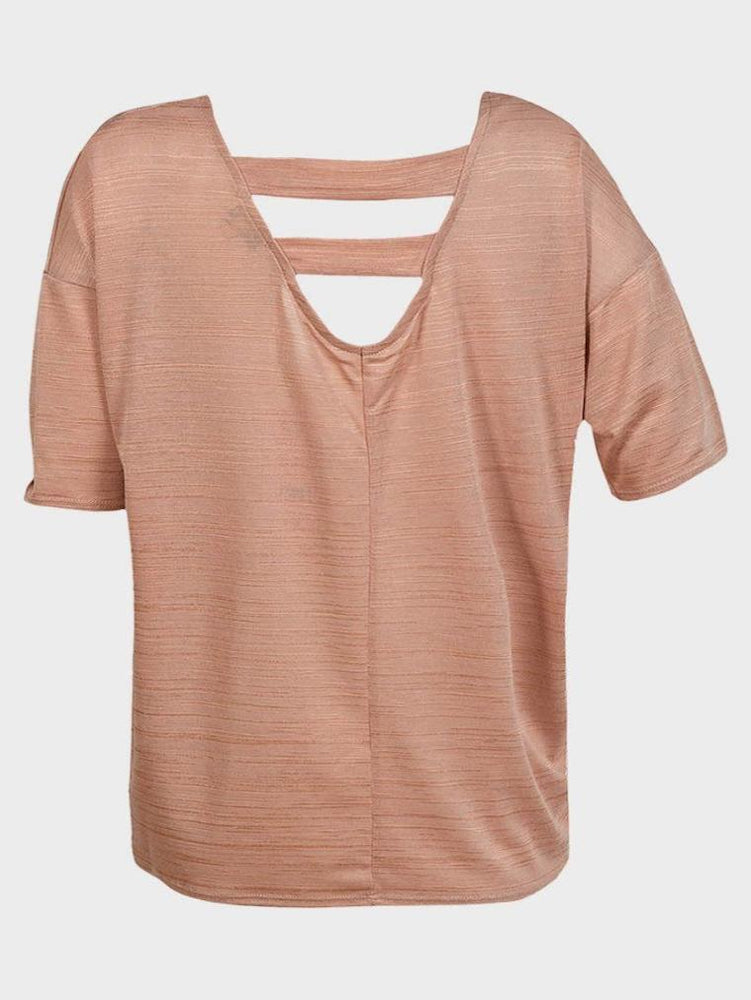 EX HIGH STREET LADIES SEMI SHEER TOP DUSTY PINK - Fashion Trendz