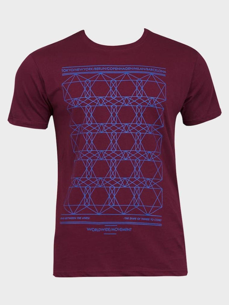 EX HIGH STREET MENS COTTON T-SHIRT BURGUNDY