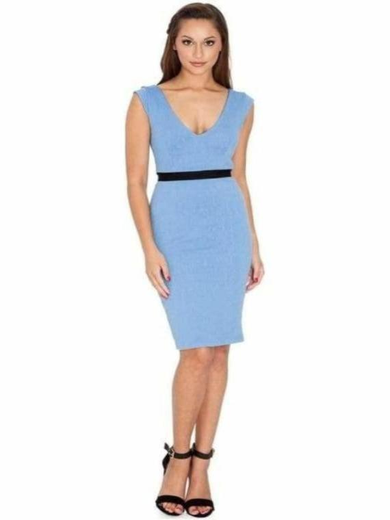 ADRIANNA CREPE V NECK DRESS