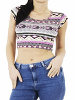 Gold Foil Aztec Print Crop Top - Top