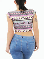 GOLD FOIL AZTEC PRINT CROP TOP - Fashion Trendz