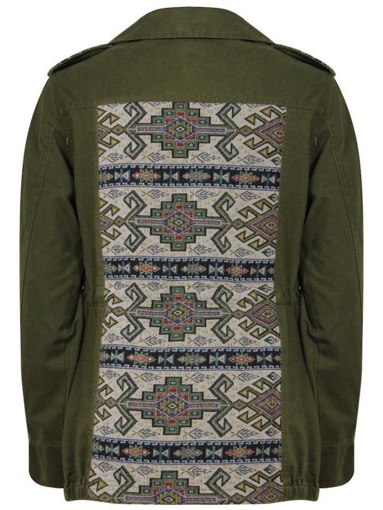 Khaki Aztec Patch Detail Jacket - Jacket