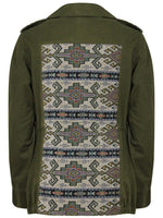 KHAKI AZTEC PATCH DETAIL JACKET - Fashion Trendz