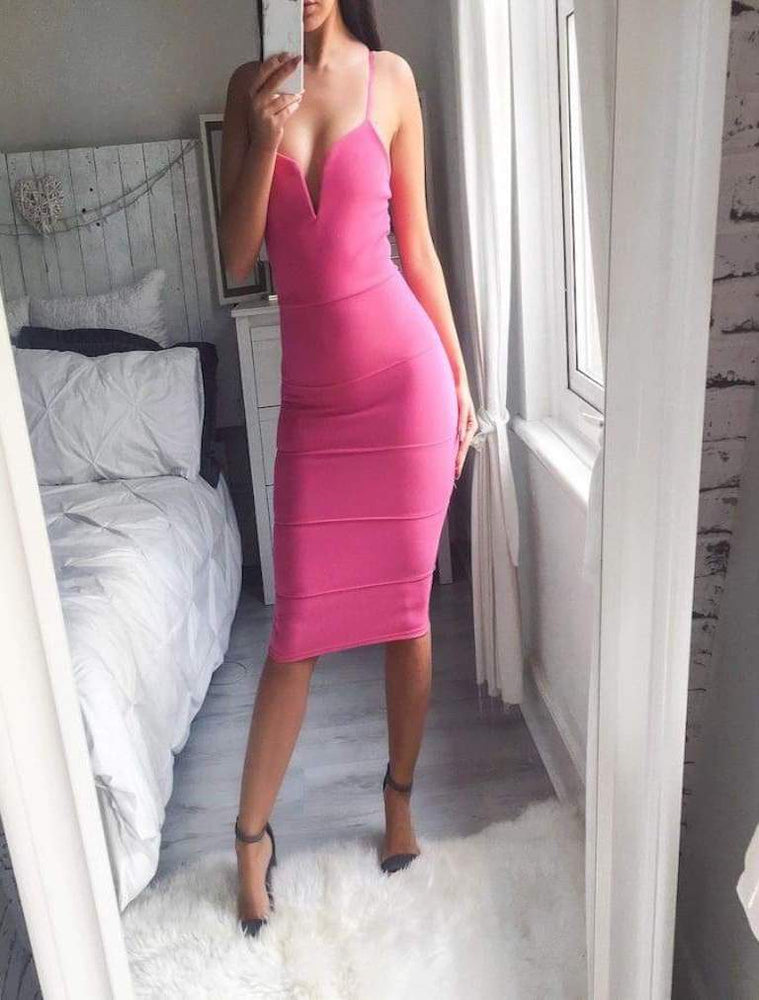 MEGAN ZULA PLUNGE V NECK BANDAGE BODYCON DRESS HOT PINK - Fashion Trendz