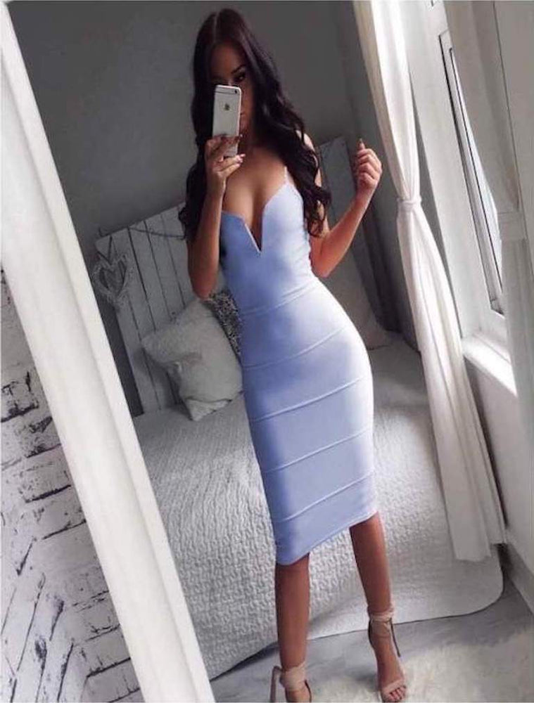 MEGAN ZULA PLUNGE V NECK BANDAGE BODYCON DRESS ICE BLUE - Fashion Trendz