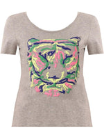 MULTI COLOURED TIGER MOTIF SHORT SLEEVED T-SHIRT